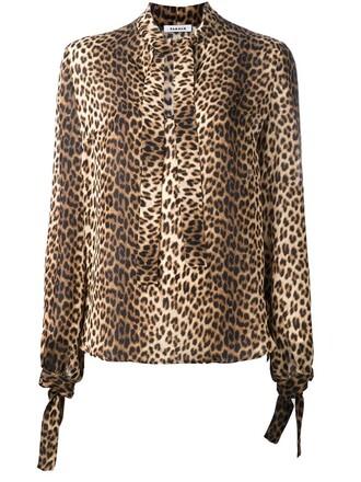 shirt women print silk brown leopard print top