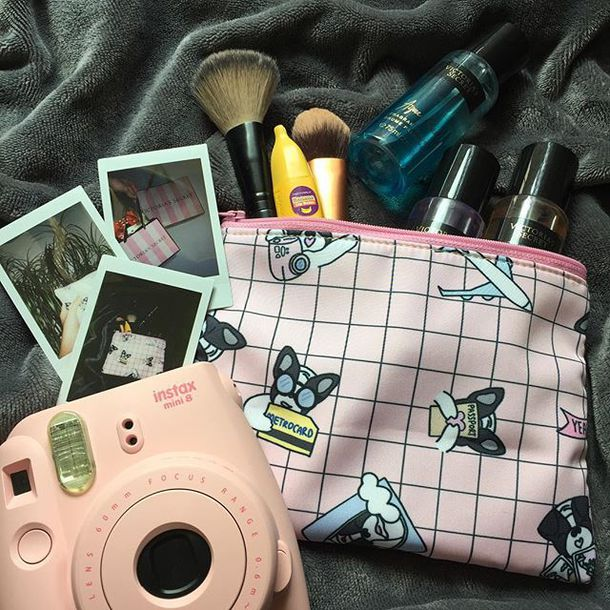 make-up yeah bunny cute pastel girly pouch makeup bag bag frenchie dog dog