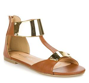 Metallic Accent T Strap Flat Sandal Tan Nature Breeze Ariel 08 | eBay