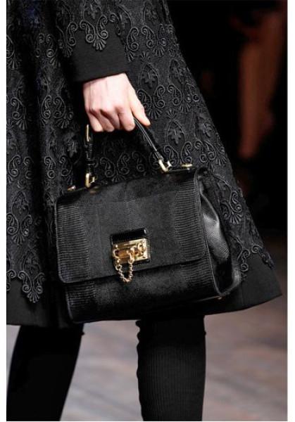 c307b433bb Dolce   Gabbana Black Monica Iguana Embossed Leather Bag