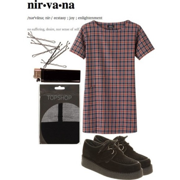 topshop blue dress black plaid nirvana creepers bobby pins pins red short dress checked checked dress navy blue dark blue