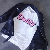 t-shirt,daddy,top,shitts,shirt,pink and white,jacket
