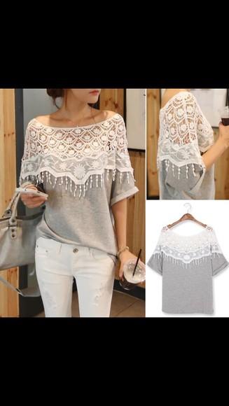 top jumper blouse crochet lace jumper