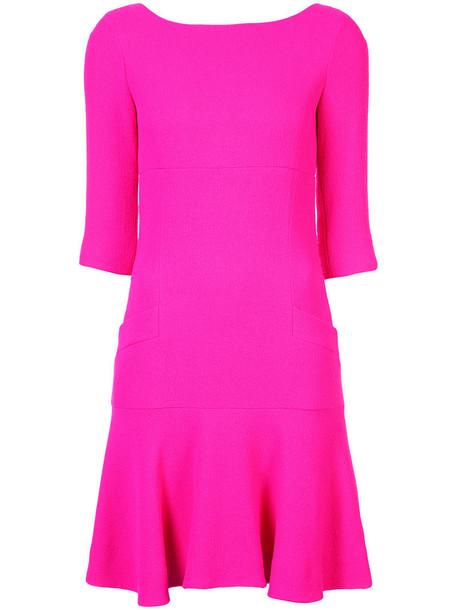 oscar de la renta dress women wool purple pink
