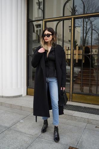 coat black coat oversized coat oversized top blue jeans boots black boots black top jeans denim