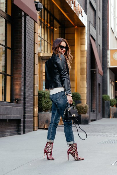 shoes tumblr boots ankle boots printed boots denim jeans blue jeans jacket leather jacket black leather jacket bag black bag sunglasses