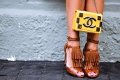bag,chanel,fashionism,yellow,top,yellow top,shoes