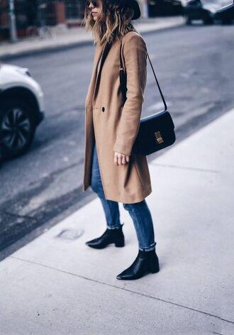 coat tumblr beige coat denim jeans blue jeans bag black bag shoulder bag boots black boots flat boots
