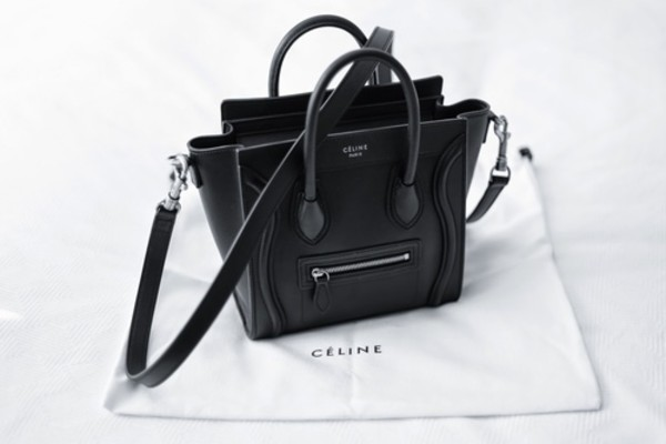 celine bag copies - celine nano luggage black, celine black leather bag