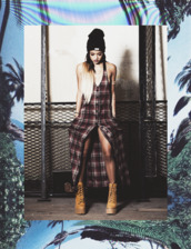 dress,flannel dress,karrueche,button up dress,checkered,red dress,flannel,button up,pocket dress,shoes,hat