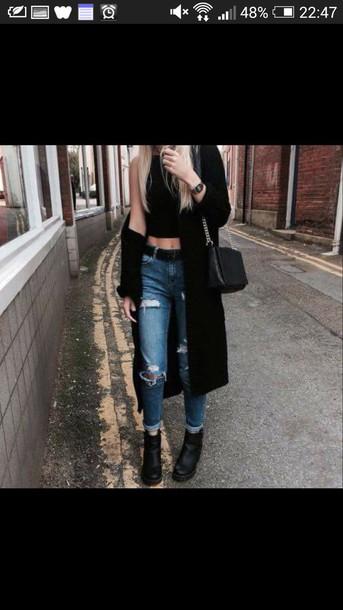 coat manteau long black coat black high neck top denim jeans top