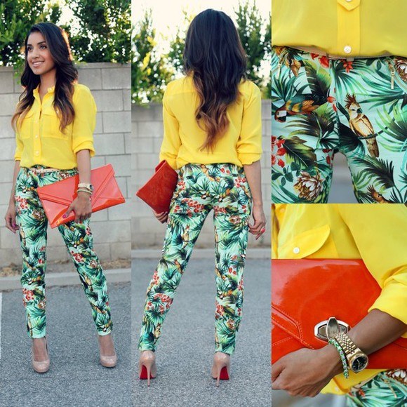 loose fit sweater pants tropical print blouse