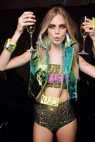 jacket cara delevingne shirt sparkles shorts jewels