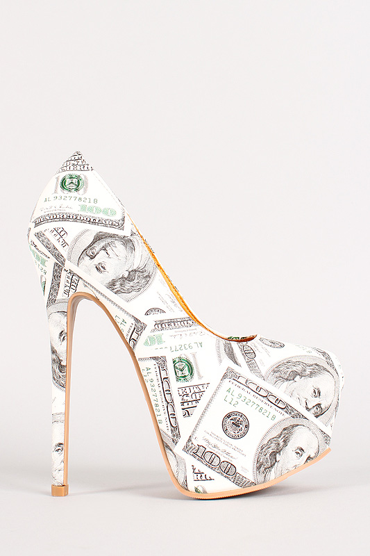 Shoe Republic Green 100 Dollar Bill Print Platform Pump