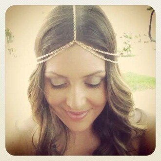 hair accessory hair piece metal chain hair head floral headband
