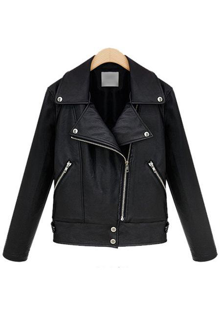 Women's lapel long sleeve inclined zipper black color slim fit leather jacket online
