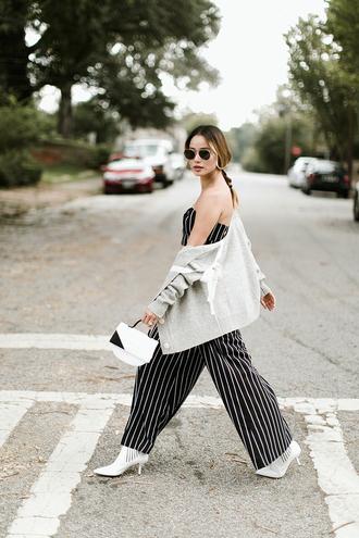 cardigan tumblr grey cardigan jumpsuit wide-leg pants stripes striped pants shoes boots white boots bag white bag sunglasses