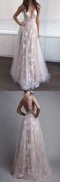 dress prom dress light pink lace dress long dress