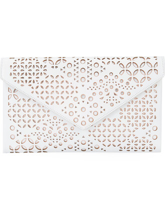 women laser cut clutch leather white bag