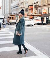 coat,tumblr,grey coat,grey long coat,long coat,knitted beanie,black beanie,pom pom beanie,beanie,boots,black boots,bag,furry bag,hat
