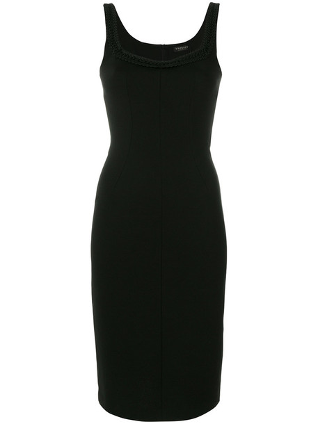 dress sleeveless women spandex black