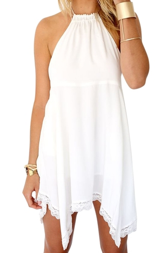 dress white dress backless dress halter dress irregular halter dress girl summer dress lace dress zaful jewels