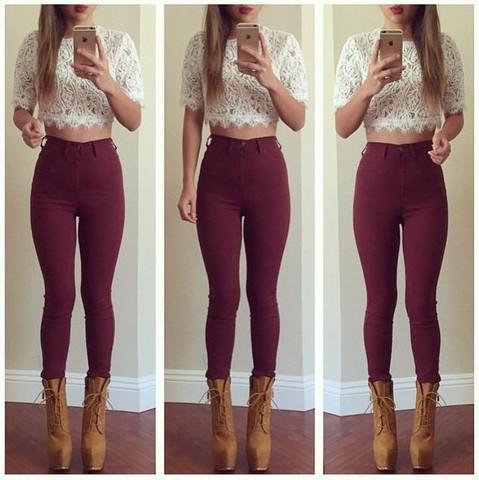 27b53b9151c Super High Waist Denim Skinnies - Burgundy | Fashion Nova