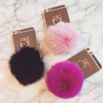 phone cover pink white summer fur fuzzy ball keychain