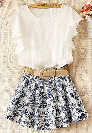 NewYorkscene | Coconut Tree Print Skirt Stretchy Waist Falbala Sleeve Dress  | Online Store Powered by Storenvy