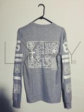 pyrex,bape,air jordan,long sleeves,grey sweater