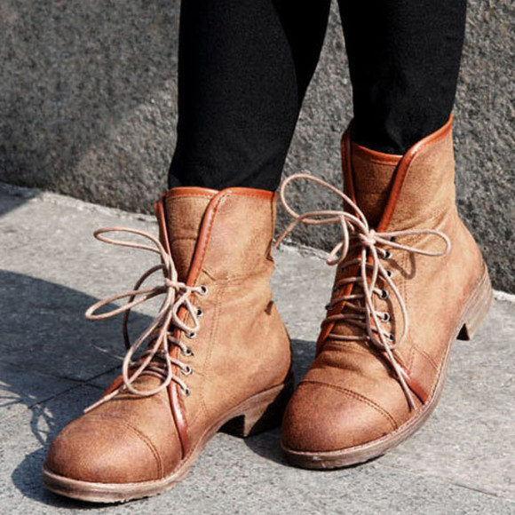 shoes boot flat lace up brown