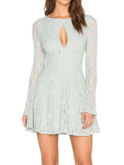 Sky Blue Cut Out Front Sheer Mesh Lace Lined Skater Dress