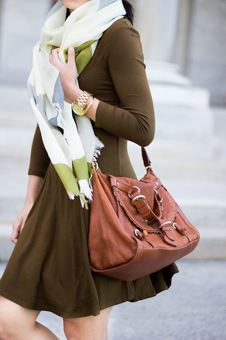 fastfood&fastfashion blogger sweater dress scarf jewels bag shoes brown bag winter outfits green dress tumblr olive green mini dress long sleeves long sleeve dress gold watch watch