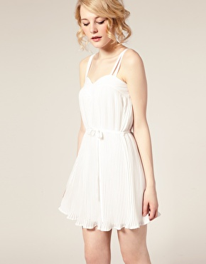 ASOS | ASOS Pleated Dress with Sweetheart Neck at ASOS