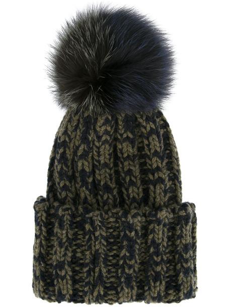 fur fox beanie green hat