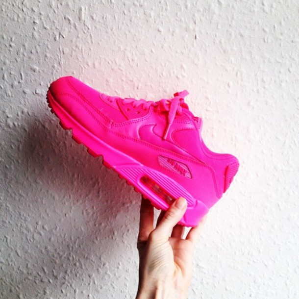 competitive price c43c6 43c36 shoes nike air max 90 pink sneakers hot pink low top sneakers nike sneakers  nike nike