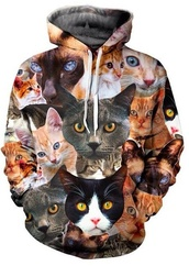 sweater,cats,cool,hoodie,style,fashion,clothes,animal face print