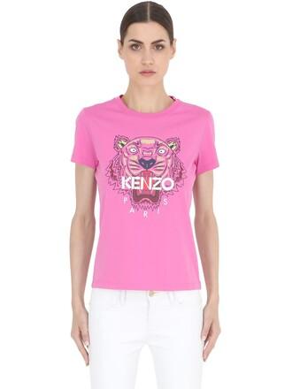 t-shirt shirt tiger cotton pink top