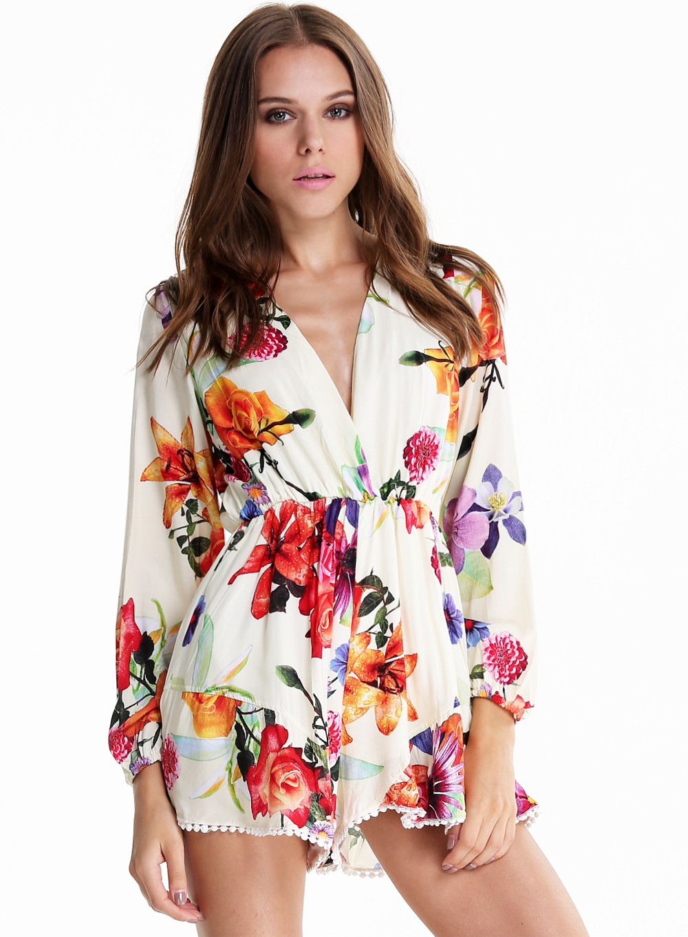 3b4a174822c White V Neck Long Sleeve Floral Loose Jumpsuit -SheIn(Sheinside)