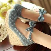 shoes,polka dot skirt,cute shoes,polka dots,cute platforms,sweet,heels,high heel,summer,kawaii,girly,bows,japanese fashion,asian,pretty,feminine,wedges,blue,jeans,bow