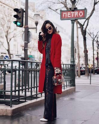 pants wide-leg pants black pants coat red coat sunglasses bag shirt