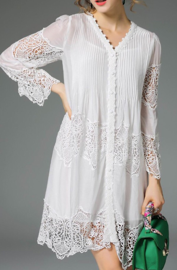 dress white lace dress fashion style trendy summer girly dezzal