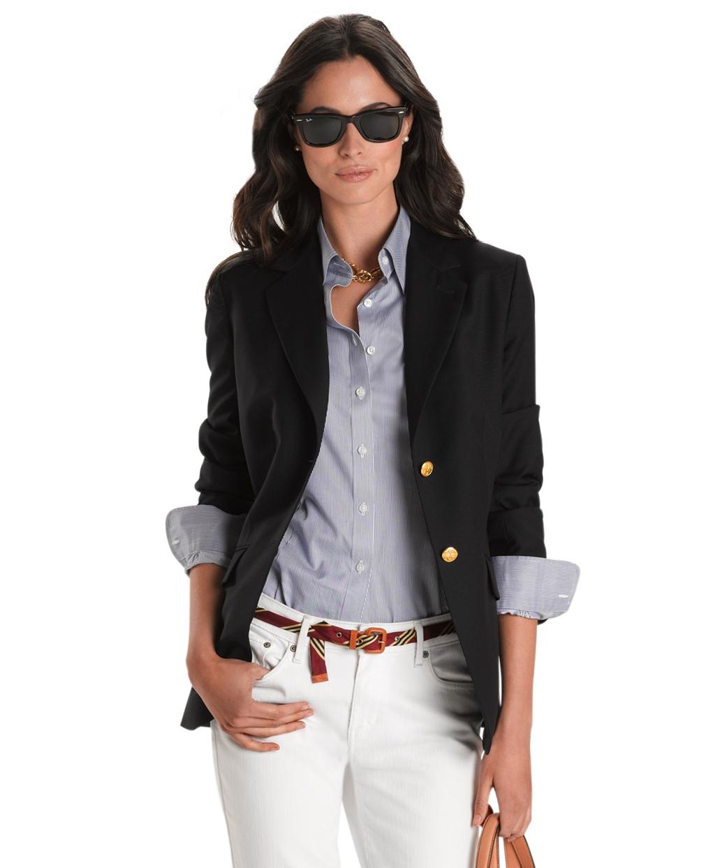 Button classic navy blazer