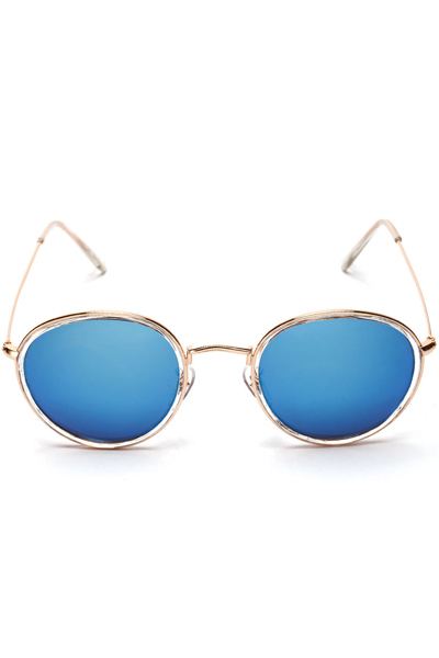 Blue Thin Metal Round Frame Tinted Aviator Sunglasses