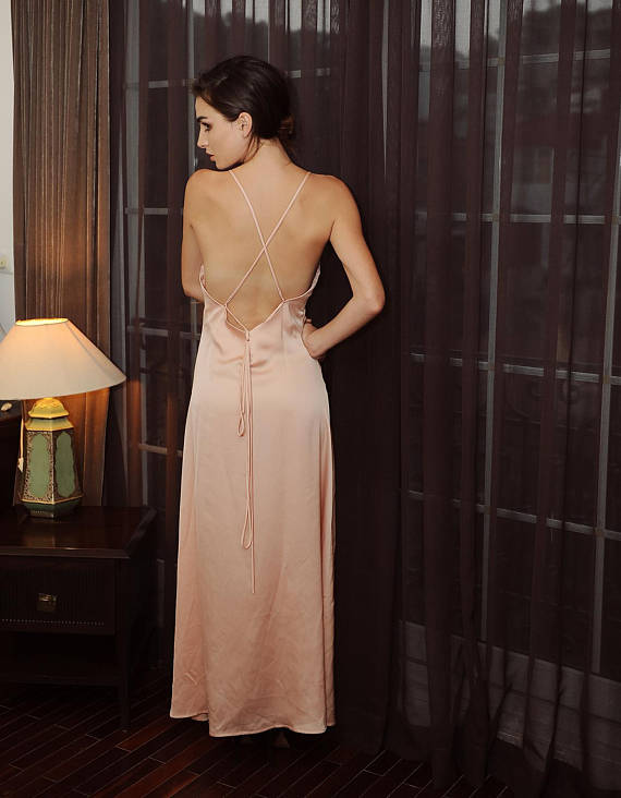 Lelasilk women ladies luxury backless/ open back/ silk/ sexy event party cocktail dress/ gown/ wedding bridal bridesmaid/ prom dress