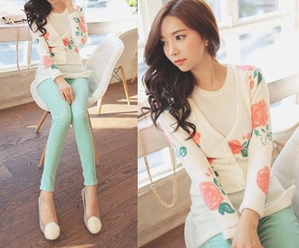 sweater cardigan floral pink clothes turquoise skinny pants pants