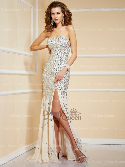Sweetheart Sheath/Column Sweep/Brush Train Beading Chiffon Evening Dresses - Formal Dresses - Special Occasion Dresses Dylan Queen