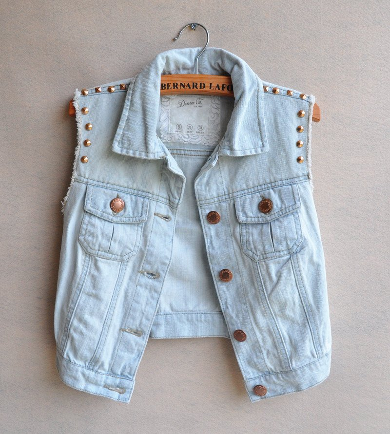 Free ship 2012 fashion CUTE casual turn down collar special rivet sleeveless light blue denim vest jean jacket jeans women coat-in Vests & Waistcoats from Apparel & Accessories on Aliexpress.com