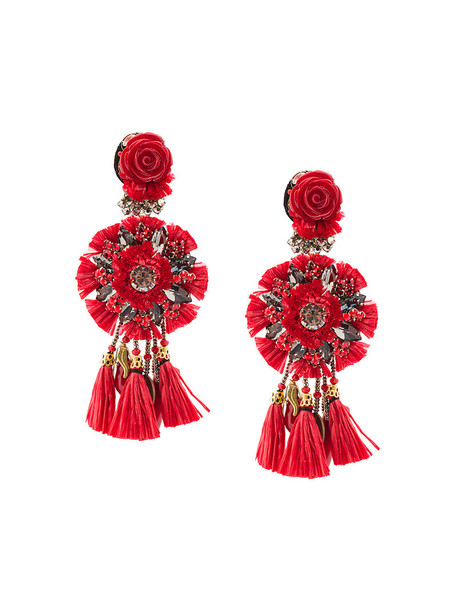 Ranjana Khan tassel women earrings floral leather red jewels