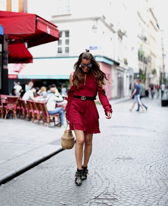 dress tumblr red dress cut-out burgundy mini dress long sleeves long sleeve dress boots ankle boots bag belt shoes
